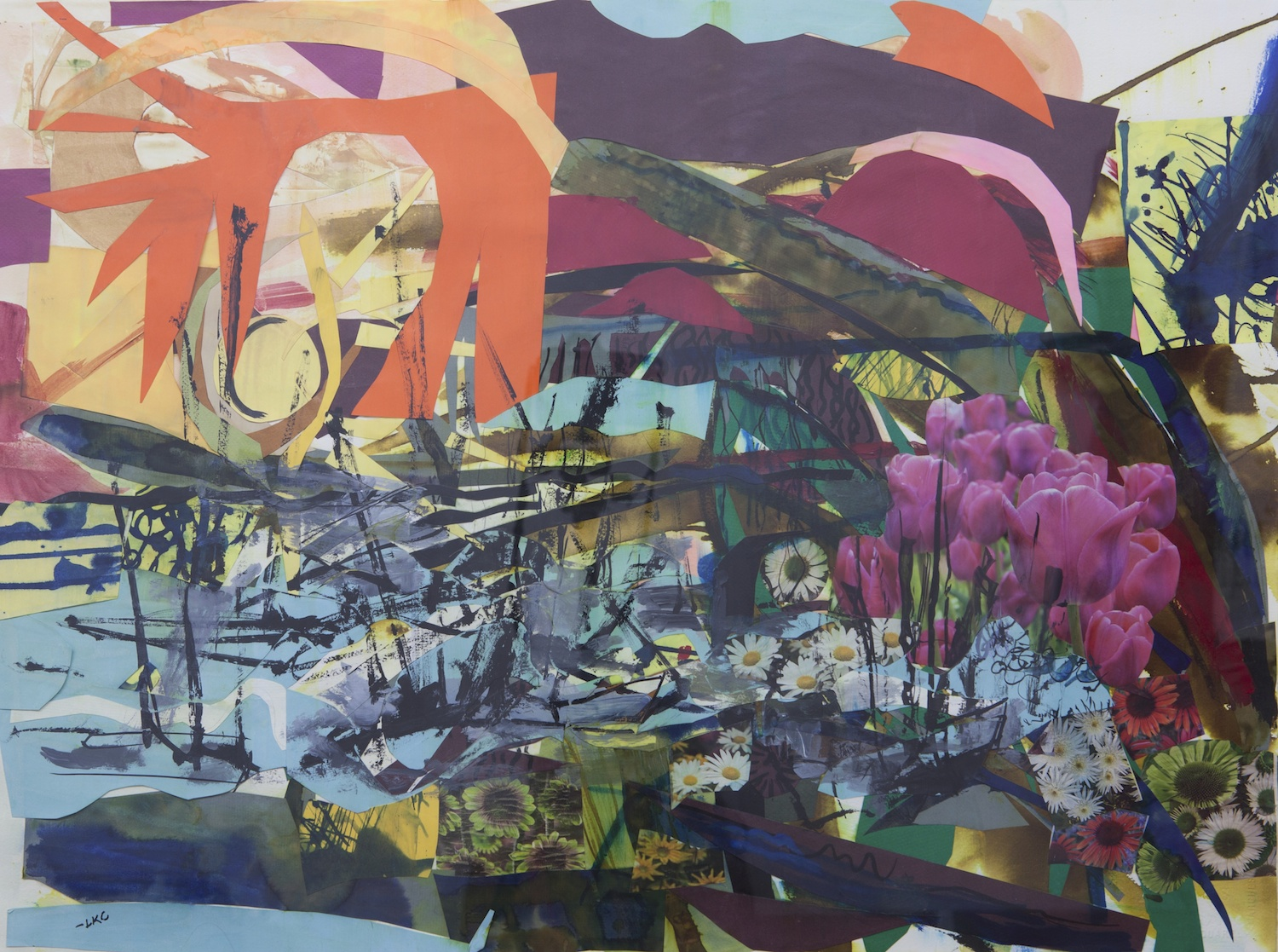 "Harbor* 22""x30"" cut paper, acrylic and ink on paper"
