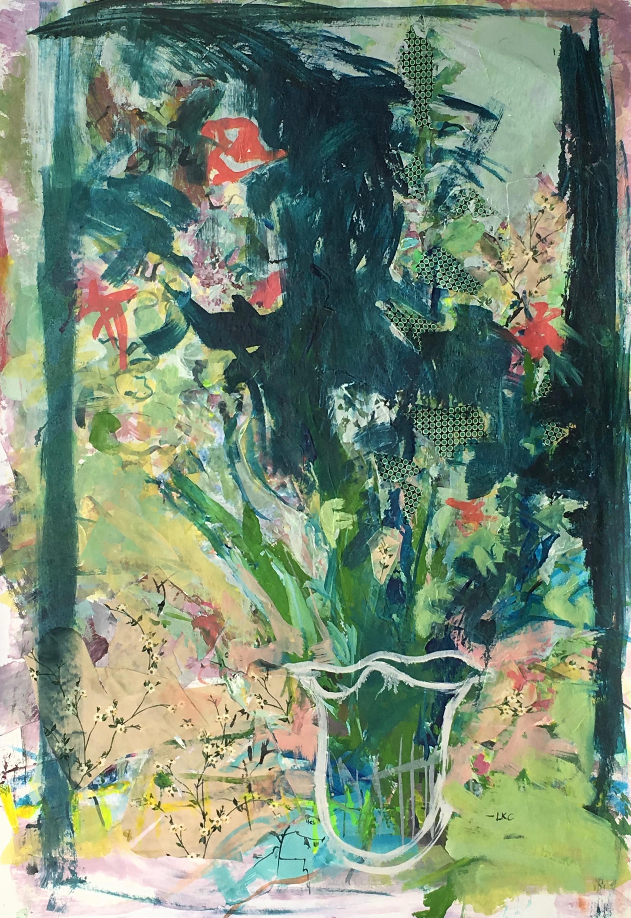 "40"" x 26"" acrylic, oil and fabric on canvas"