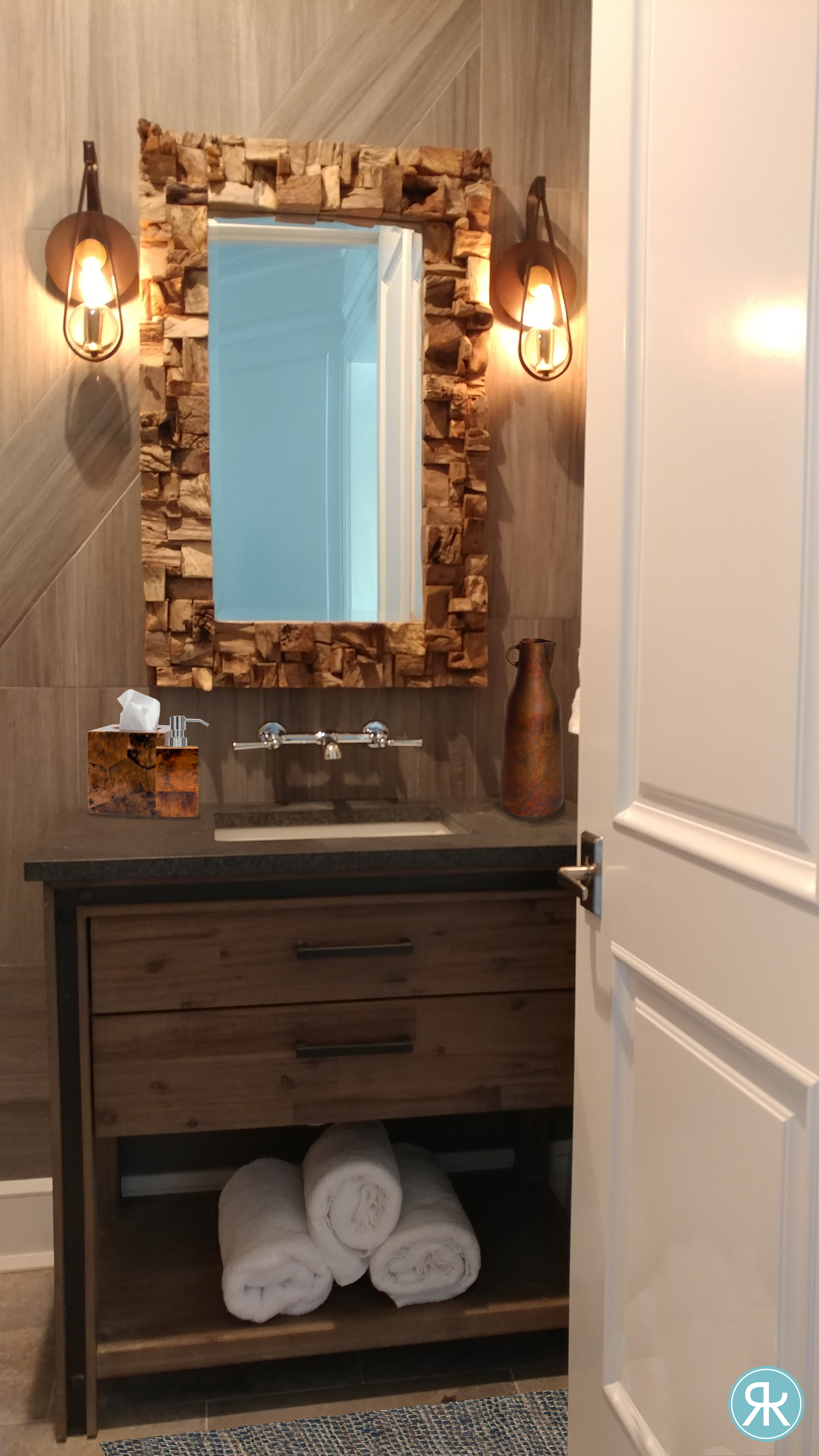 Bathroom-PowderRoom-Raw-Wood-Mirror-Uttermost-Sconces-Warm-Tile-Vanity-Elegant-Unique-InteriorDesign-Regina-Kay-Interiors.jpg