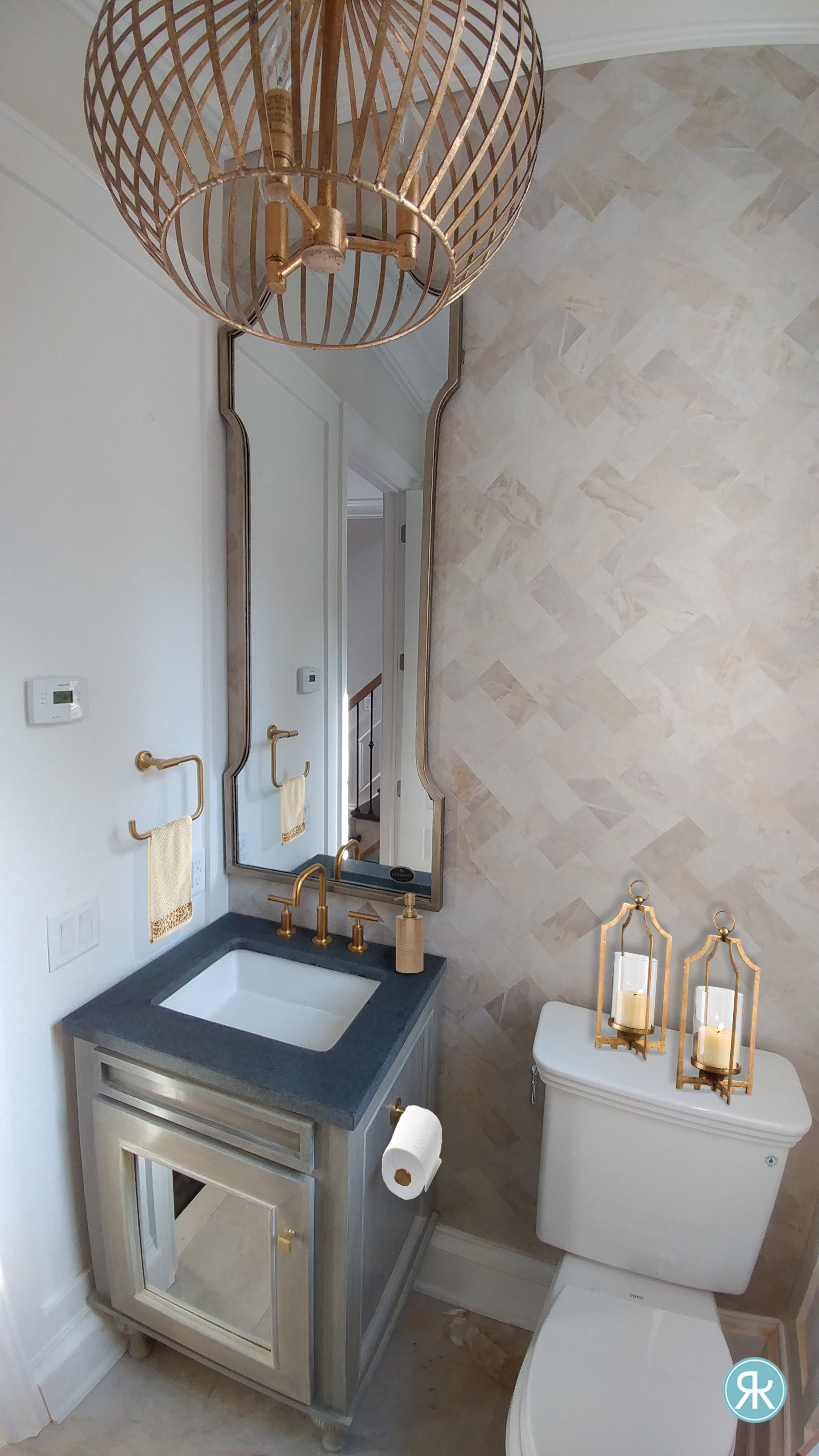 Bathroom-PowderRoom-Luxury-Tiles-Herringbone-Custom-Vanity-Brass-Gold-Accents-Vertical-Mirror-Jovita-Uttermost-Neutral-Smallspace-Renovate-InteriorDesign-Regina-Kay-Interiors.jpg