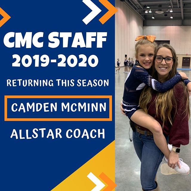 "🌟MORE STAFF ANNOUNCEMENTS!🌟 •SWIPE LEFT•  Returning to our staff for a second season is CMC Alumni, Camden McMinn! In addition to her time as an athlete at CMC, she is a former NCA Staff Member, served as the president of the Alabama Cheer Club, and is an alumni of the University of Alabama! ""I am so thrilled to begin #SEA20N at CMC! There's no place I'd rather be — our athletes and parents are second to none, and I can't wait for what amazing things are to come in our 20th Year!"" —Camden •••••••••••••••••••••••••••••••••••••••••••••••••• We are so excited to welcome Emily Williamson to our coaching staff! Emily began cheering at CMC at the age of 5, cheering on our allstar teams for TWELVE SEASONS, from 2002-2014! She then went on to cheer for the Mississippi State the All-Girl cheer squad! ""I'm so honored and excited to be back at CMC doing what I love! I can't wait to kick off the 20th season and am looking forward to another amazing experience with the Orange Nation!"" —Emily  Stay tuned for more exciting news & announcements, & visit centralmisscheer.com for more information!"