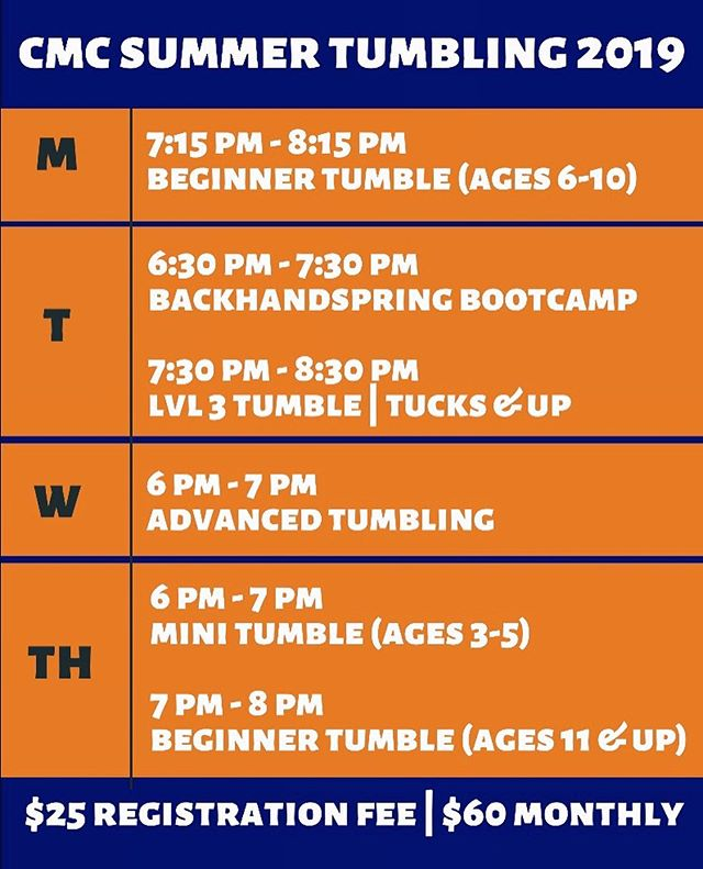 Our Summer Session begins next week! Contact us today to register for a tumble class, & master new skills this summer. We can't wait to see you! #SEA20N 🧡💙