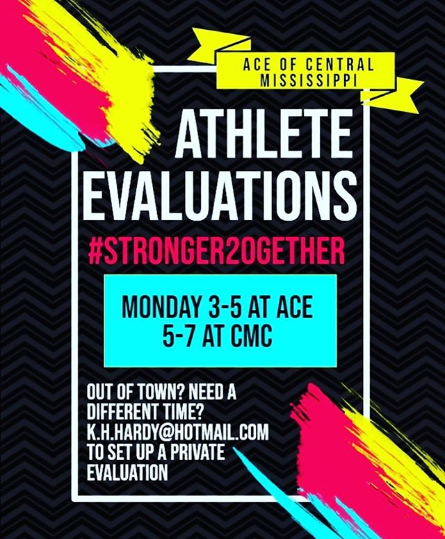 We are so excited to be joining forces with ACE! If you are interested in being evaluated for ACE of Central Mississippi, please join us tomorrow,  Monday July 8th, at ACE from 3:00-5:00 or CMC from 5:00-7:00 for evaluations! 💙🧡+❤️💛🖤 #Stronger20gether