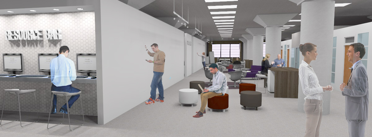 In between the open offices is the Think Tank communal area where people can share ideas on the whiteboard wall as well as use the resource bar for research or seek collaborations with other members by forums.