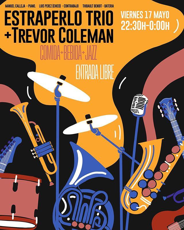 ESTE VIERNES 17 Segundo ciclo de #Jazz en @estraperlocentral con #EstraperloTrio !  COMIDA \ BEBIDA \ MÚSICA ENTRADA LIBRE  MANUEL CALLEJA #PIANO. LUIS PEREZ (CHICO) #CONTRABAJO. THIBAULT BENOIT #BATERIA +TREVOR COLEMAN #TROMPETA  ESTRAPERLO TRIO Trío integrado por , Manuel Calleja Bono al piano, Luis Pérez Salto al contrabajo , y Thibault Benoit a la batería, todos veteranos  de la escena musical  sevillana. Reunidos en este trío, para ofrecer un repertorio enérgico, a la vez que amable, compuesto por temas de diferentes géneros; Standards de Jazz, Temas de Cine, Bossa Nova, Boleros. Repertorio seleccionado e interpretado con el objetivo de acompañar al oyente, en un pequeño viaje por la música popular del siglo XX en clave de jazz,  con la expresión ,  la creación colectiva y la interacción con el publico, como valores asegurados.  TREVOR COLEMAN Compositor y productor de más de 100 bandas sonoras con base en Nueva Zelanda y Europa,  3 veces nominado al premio Emmy. Trabaja  internacionalmente como compositor e intérprete.  #sevilla #jazz #directo #musicaendirecto #livemusic #teatrocentralsevilla #planessevilla #viernes