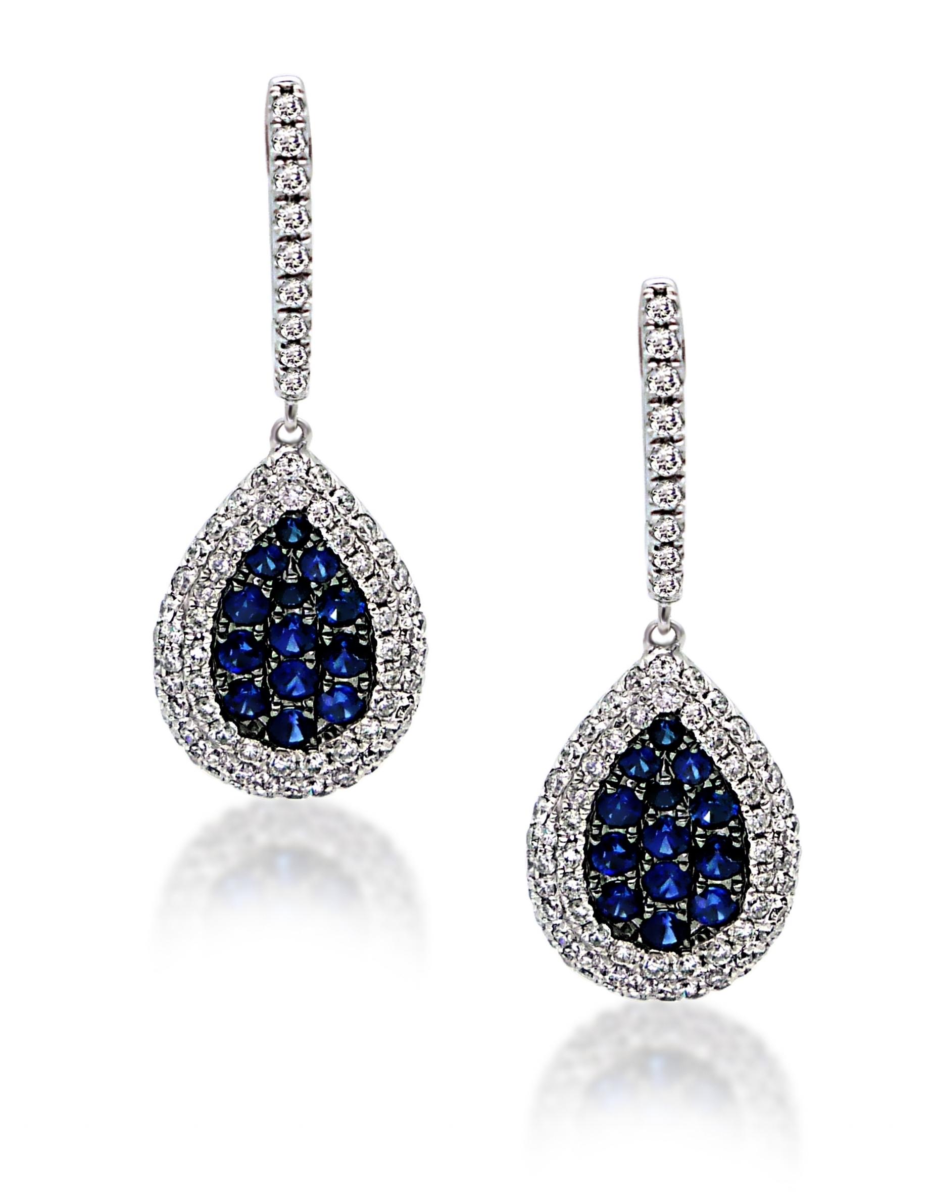 18KT White Gold Diamond and Ceylon Sapphire Earrings.