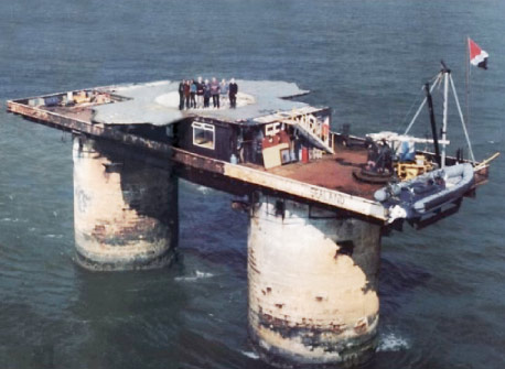 Sealand, a sovereign micronation founded on a North Sea anti-aircraft platform abandoned by the British after WWII.