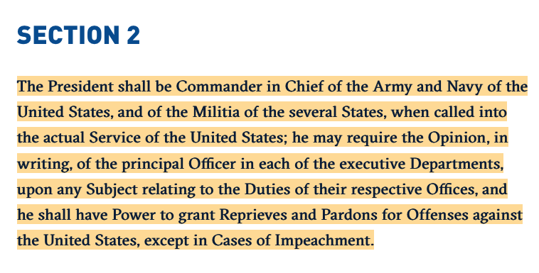 United States Constitution: Article II, Section 2, Commander-in-Chief Clause