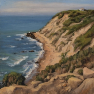 "View from Mohegan Bluffs, oil on linen, 14""x14"""