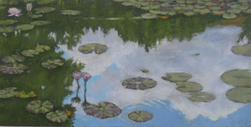 Lily pads with cloud reflections - horiz