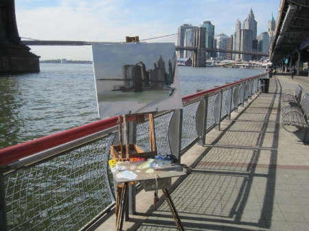 My easel and the view of Brooklyn Bridge