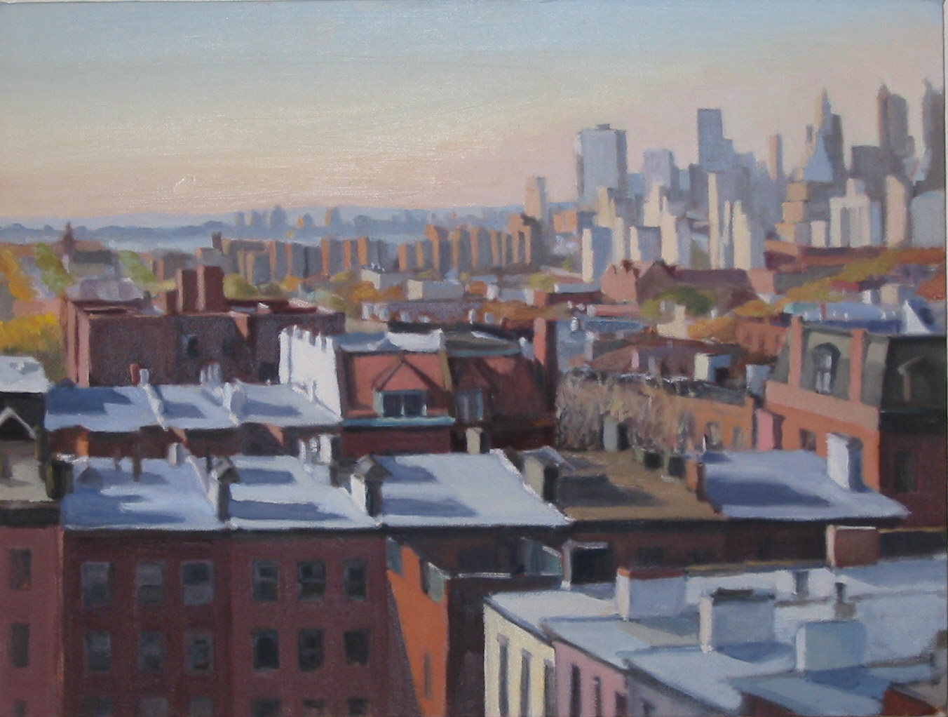 """Rooftop View, Lower Manhattan,"" oil on canvas, 12""x16"", 2002"