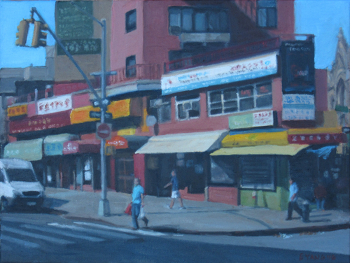 "Quiet Morning in Chinatown, oil on canvas, 12""x16"", 2016"