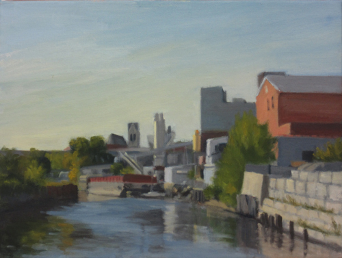 "Sunlit Bank of Gowanus, oil on canvas, 12""x16"", 2015"