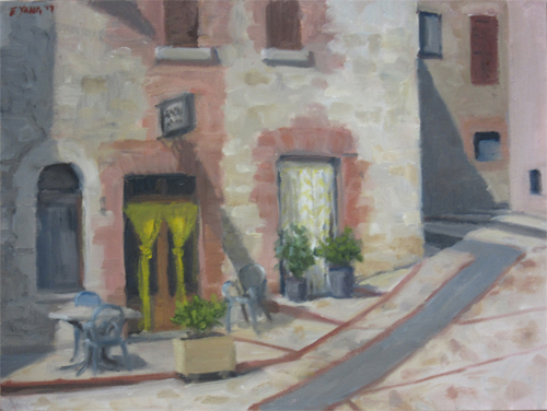 Bar Centrale, the coffee shop and bar in the main piazza of town. I happened to paint it the one day a week they are closed.