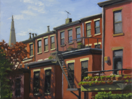 Brownstone Backsides , oil on canvas, 12x16 inches