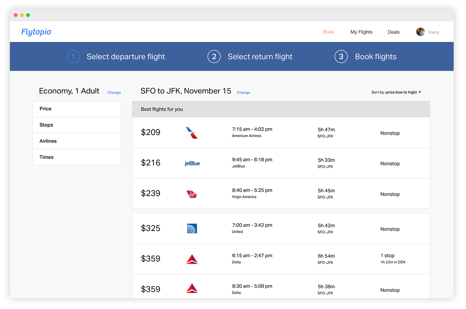 Flights organized by your preferences