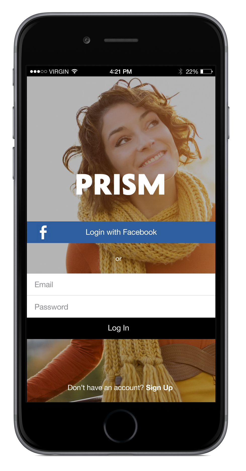 Create an account with email or facebook