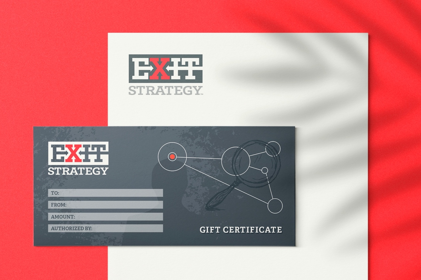 "Logo Design & Marketing Collateral for   Exit Strategy   in Charlotte, NC    ""When we started our company Exit Strategy in 2014, we didn't know how important a logo was going to be in establishing our brand. Karlie had a vision for our brand and reminded us that a logo needs make a statement. In just a short time, she had come up with a variety of options and all of them reflected what our company could become. The one we finally chose was exactly the professional look we needed. Over the last five years, we have received many compliments on our logo and when people see it, they know who we are. Thanks Karlie for helping us create our brand!   – Jay and Mylene, Owners"