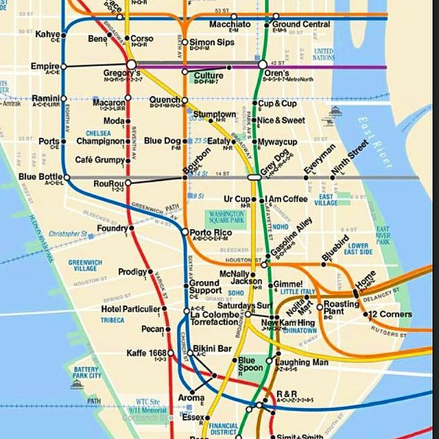 NY coffee shops map by subway stop #fiftycoffees