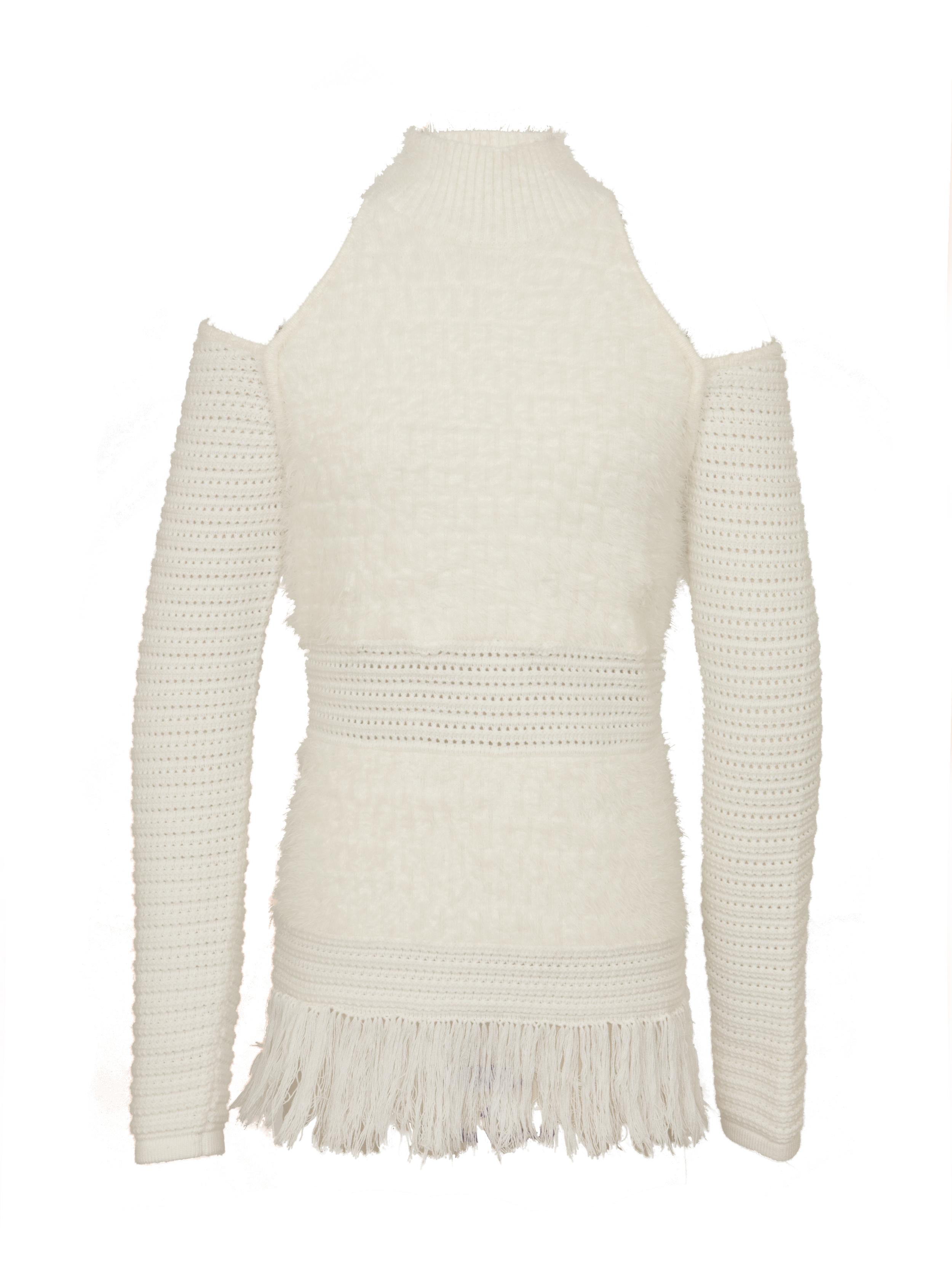 P2063-K, Fringe Pointelle Cold Shoulder Tunic, Ivory.jpg