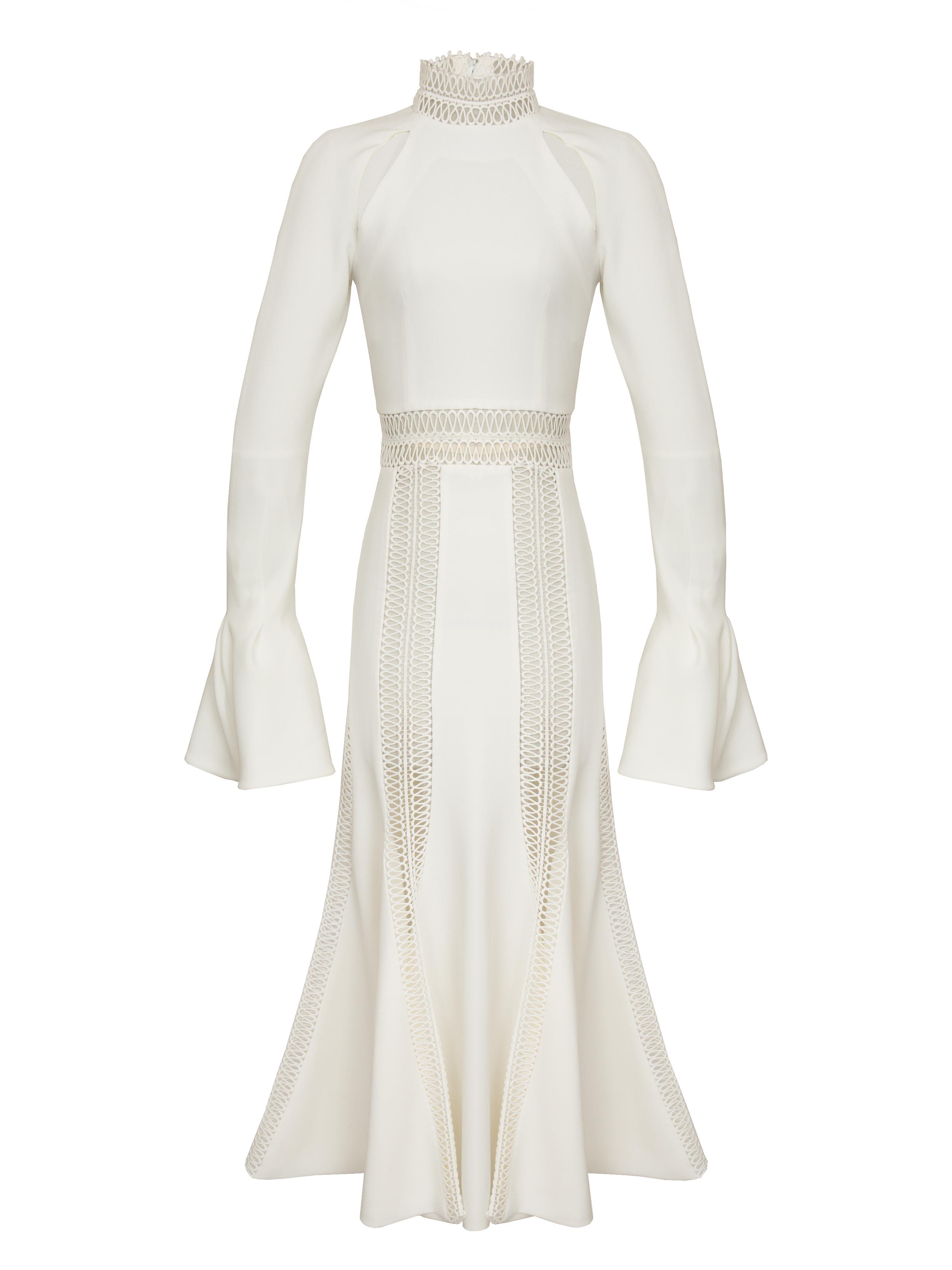 P1227-U, Trumpet Sleeve Trim Dress, Ivory.jpg