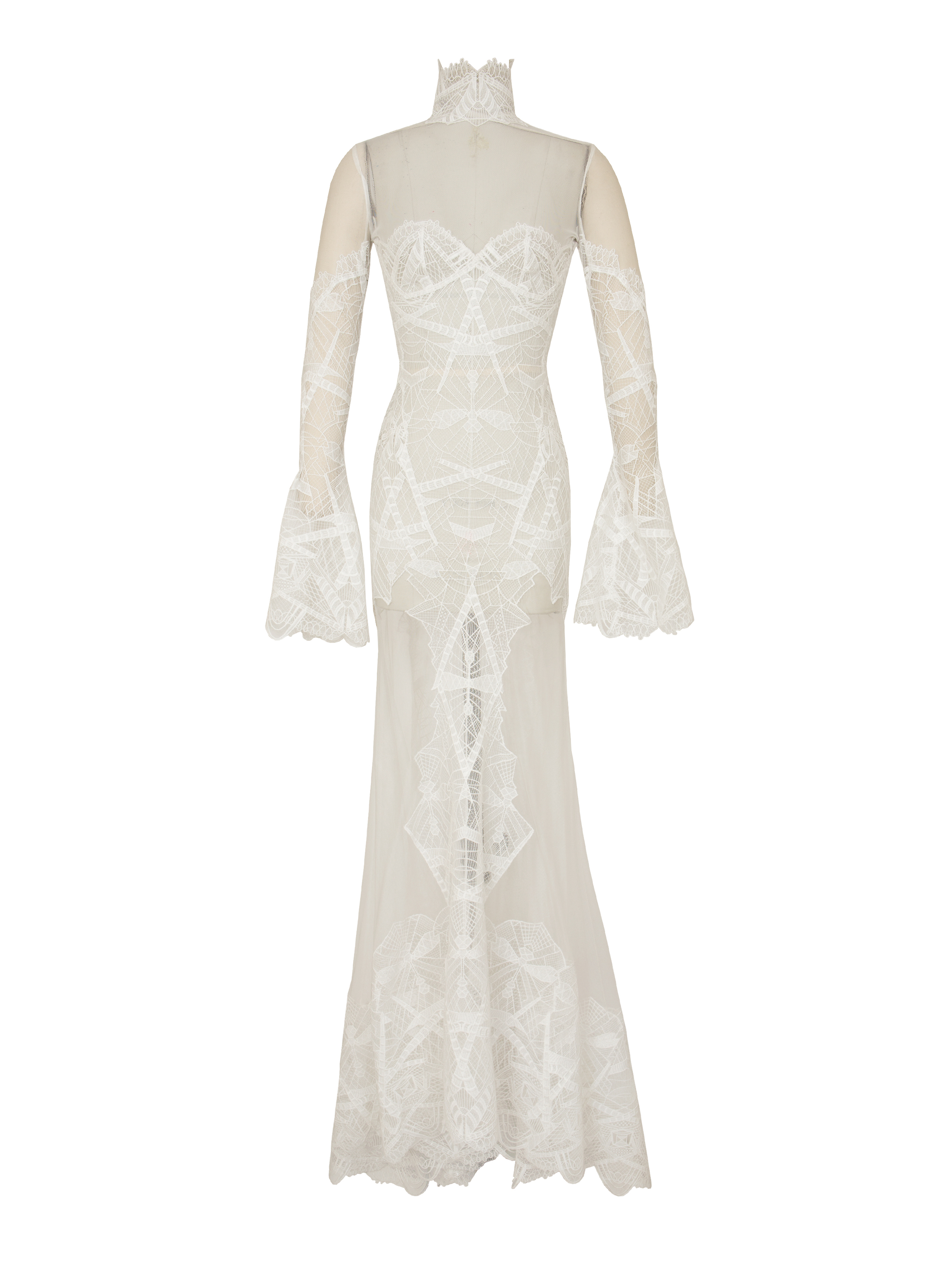 P1914-V, Lace Flare Sleeve Gown, White.jpg