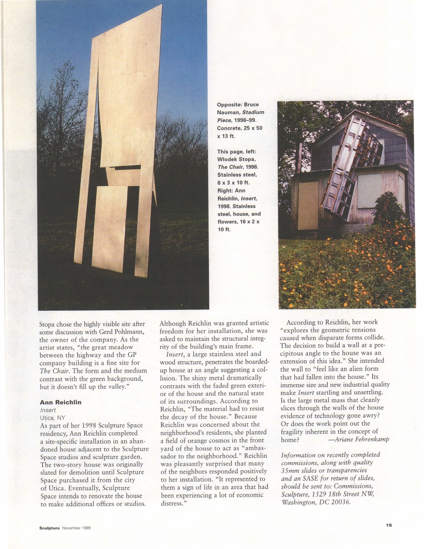 Commissions  Sculpture Magazine  November 1999