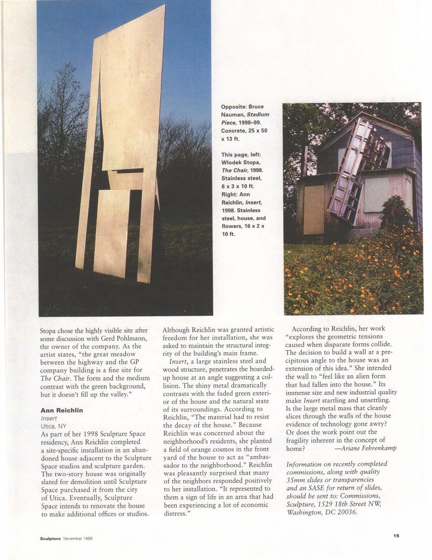 Commissions Sculpture Magazine November 1999
