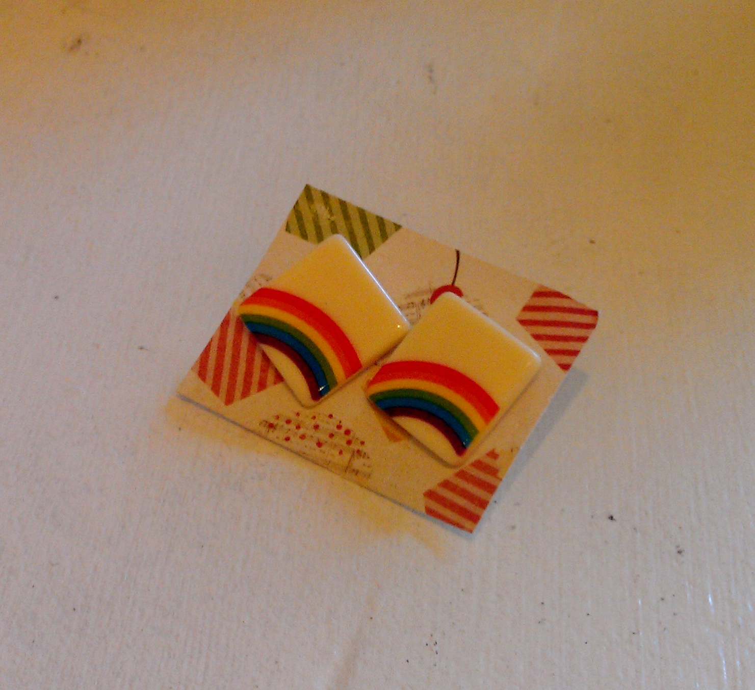 Rainbow Earrings by Lanyapi Designs made from vintage button! $15