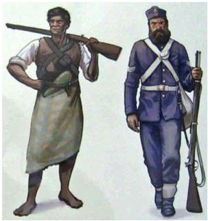 A depiction of a Maori warrior andBritish soldier at the Battle of Gate Pa