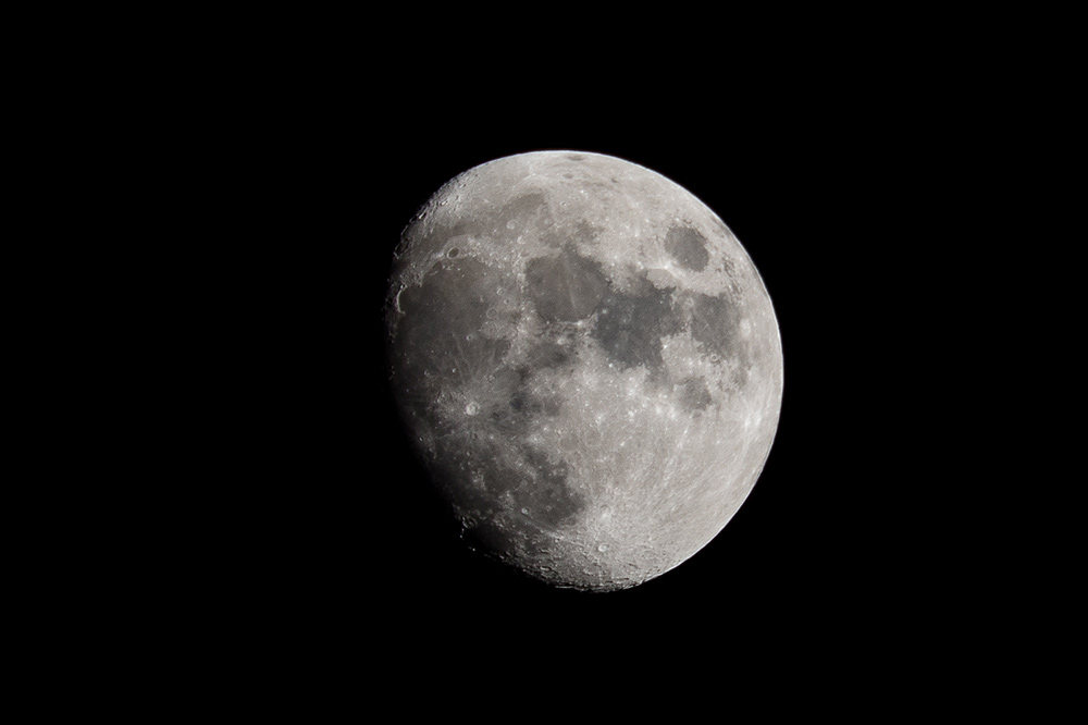 The moon. Photographed with a 400 mm lens on a Nikon D800.