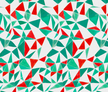 triangle facets - orange & veronese green by ravynka on spoon flower