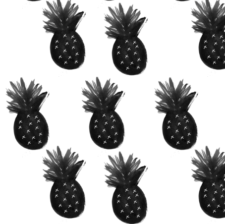 pineapple black white - elvelyckan by elvelyckan by spoonflower