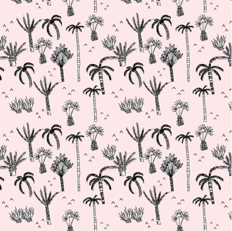 palm tree jungle pink - elvelyckan by elvelyckan on spoonflower