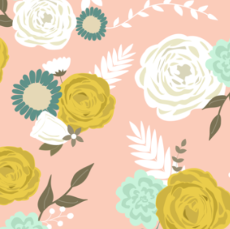 Summer blooms on pink  by: >>mintpeony<< on spoonflower