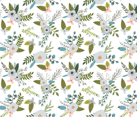 sprigs and blooms // silver // oversized  by: ivieclothco on Spoonflower