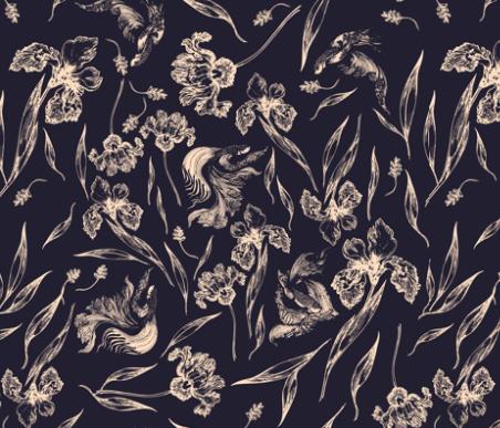 Swimming In Flowers  by: feanne on spoonflower