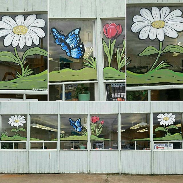 #spring is here! Almost, maybe 😅 #lltdiesel  #windowpainting #daisies #tulips #butterfly 🎨 4 windows 3hrs... I'm getting faster! Haha