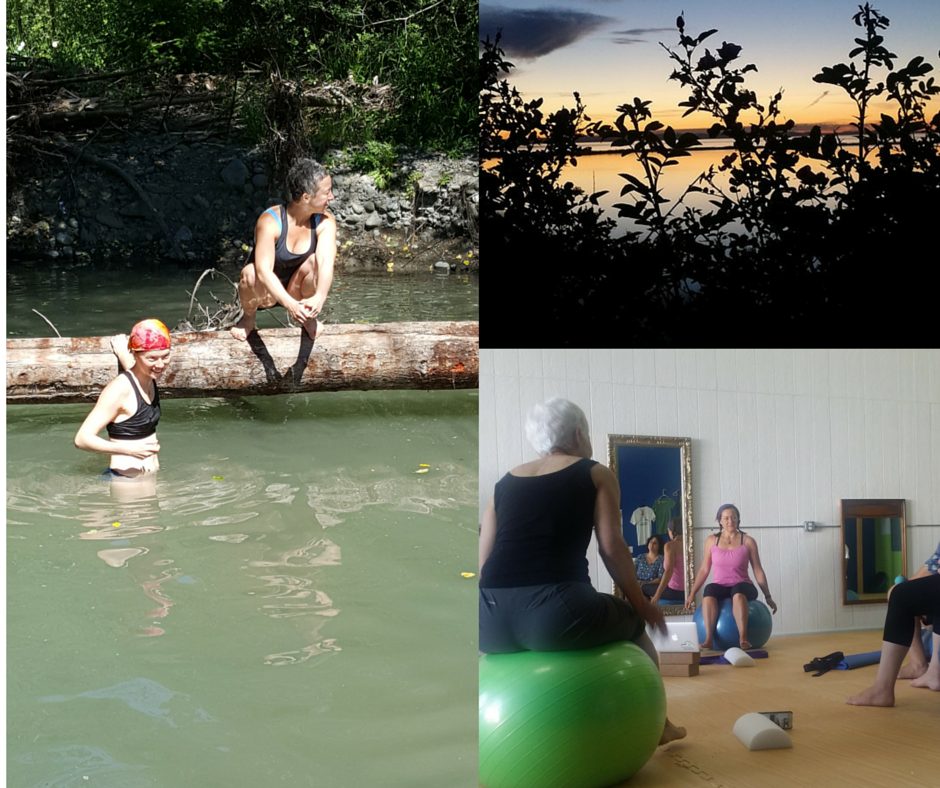 Photo on the left is of  Petra Fisher and me. Photo on the bottom right is of Katy Bowman teaching and  Nancy Burns  balancing.