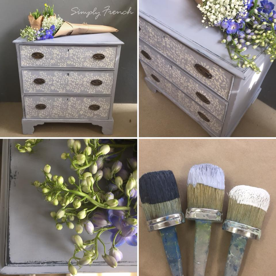 Blues but in a happy way   I really enjoyed painting this gorgeous chest of drawers with a mix of Annie Sloan blues finished off with a decorative leaf stencil.   Rxx
