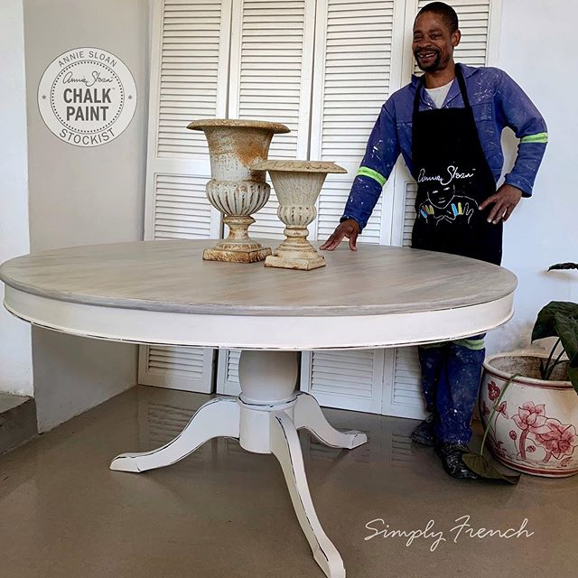 The second member of the Simply French Team is Julius. He is single Dad and has been with me for four years. I don't know what I would do without him. He tackles all the big painting jobs  inside and outside the shop with skill and style and is loved wherever he goes. Sanding brown varnish off tabletops and applying masterful washes plus two colour distress is his forte. The sound of his chuckles brings joy to my shop .  #anniesloanhome #simplyfrenchsa #anniesloansa #chalkpaint #anniesloanchalkpaint #anniesloanstockist #anniesloan