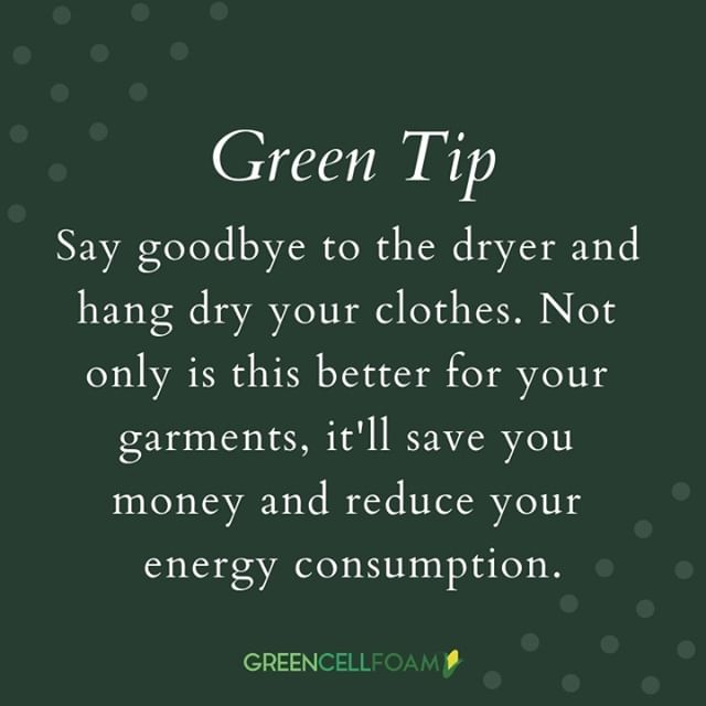 GREEN TIP | Ditch the dryer and air dry your clothes! 👚👖👕👗 . . . . #GCFCellfie #ECOrn #greencellfoam #greencellplus #greencell+ #livegreen #ecotip #greenliving #ecoliving #ecohome #packagingdesign #packaging #greencellfoam #packagingideas #packaginglove #greenpackaging #greenbeauty #smallbusiness #ecobeauty #crueltyfree #mealkit #fooddelivery #mealdelivery #ecopackaging #compostable #environmentallyfriendlypackaging