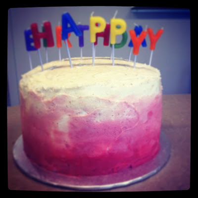 Raspberry amaretti ombre cake