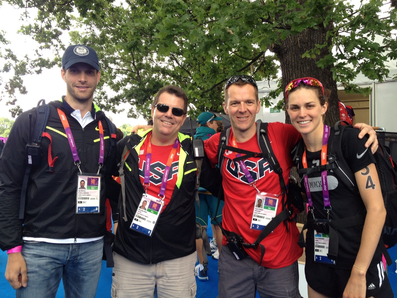Gwen at Olympics with the USAT Support Staff.JPG