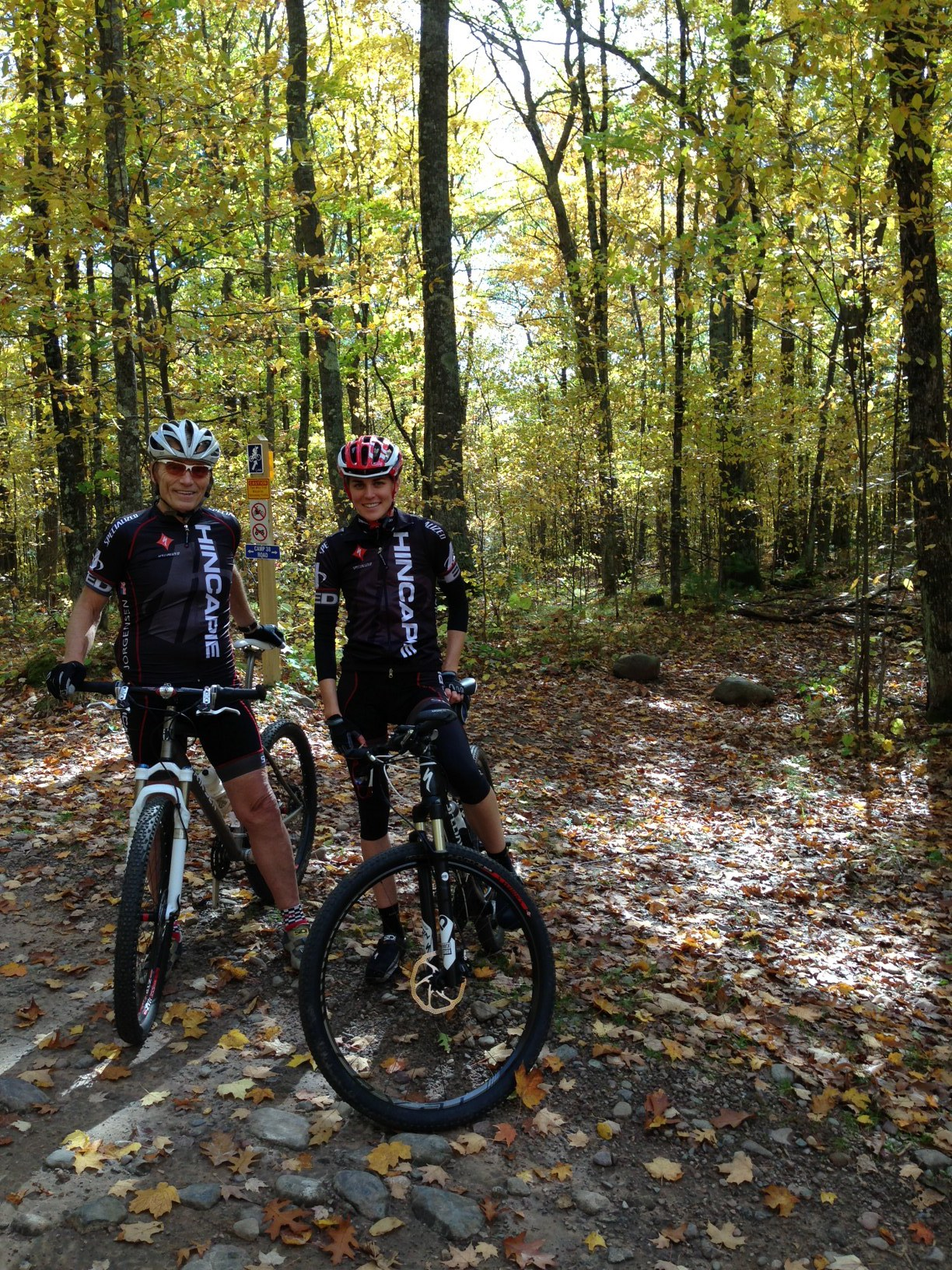 Dennis and Gwen biking in Cable, WI