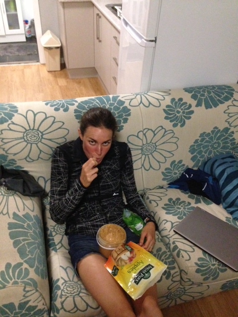 I did not eat this on this day, however this is a typical snack for me (below is an enlarged photo). Photo was taking by Patrick, who came home and caught me snacking on the couch.