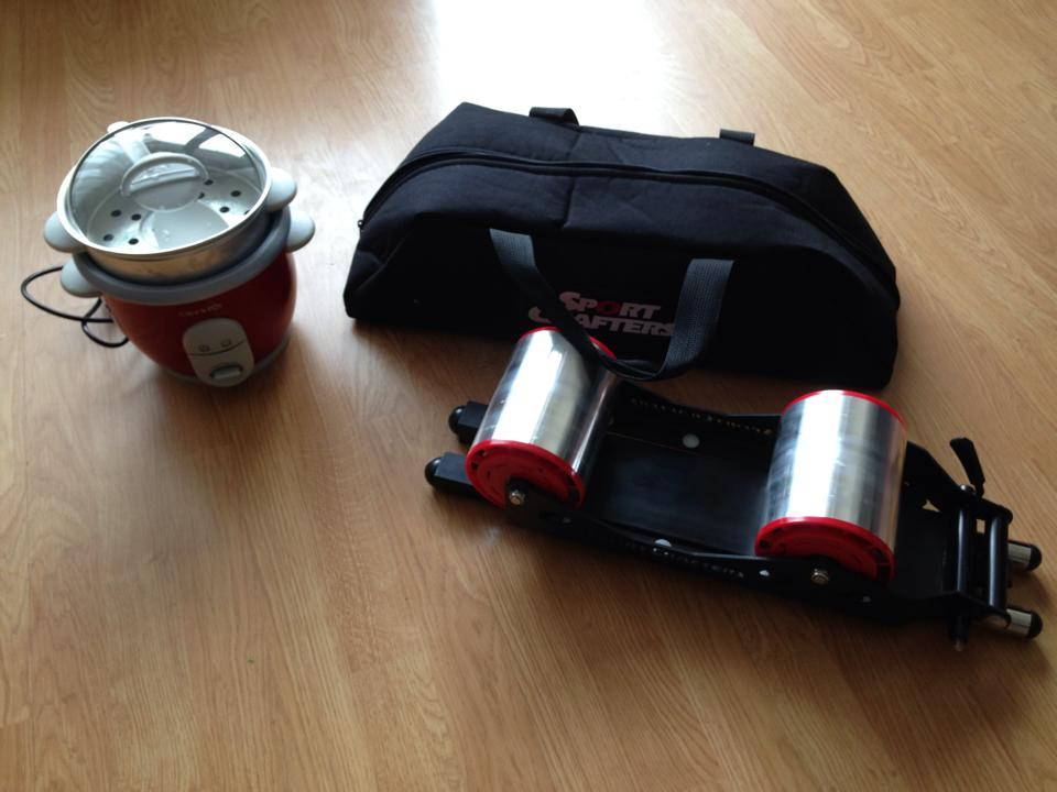 The SportCrafters travel trainer has made bringing a trainer easy and convenient. I also travel with a travel rice cooker, for Patrick to cook meals in the hotel room in necessary.