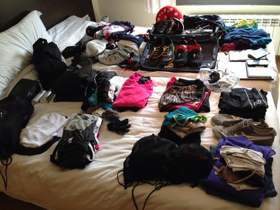 I always use the bed to organize and pack.