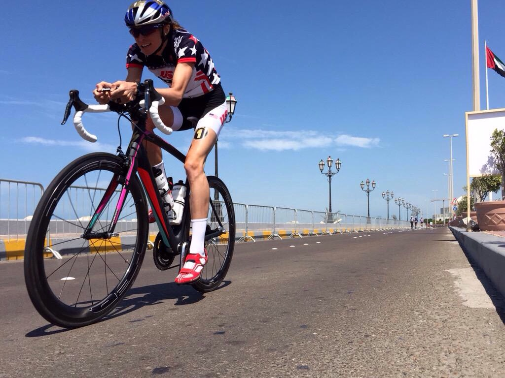 Pre race warm up on the bike. Photo thanks to Specialized